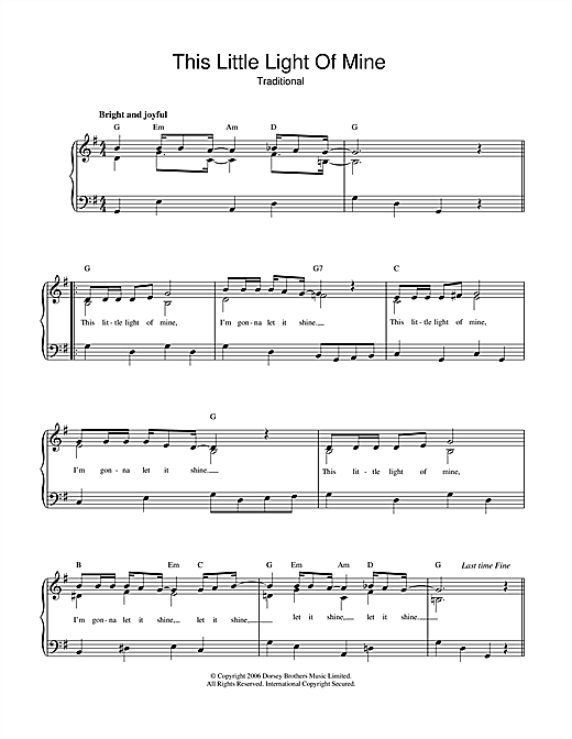 Download African-American Spiritual 'This Little Light Of Mine' Digital Sheet Music Notes & Chords and start playing in minutes