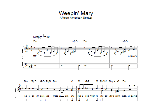 African-American Spiritual Weepin' Mary sheet music preview music notes and score for Piano & Vocal including 2 page(s)
