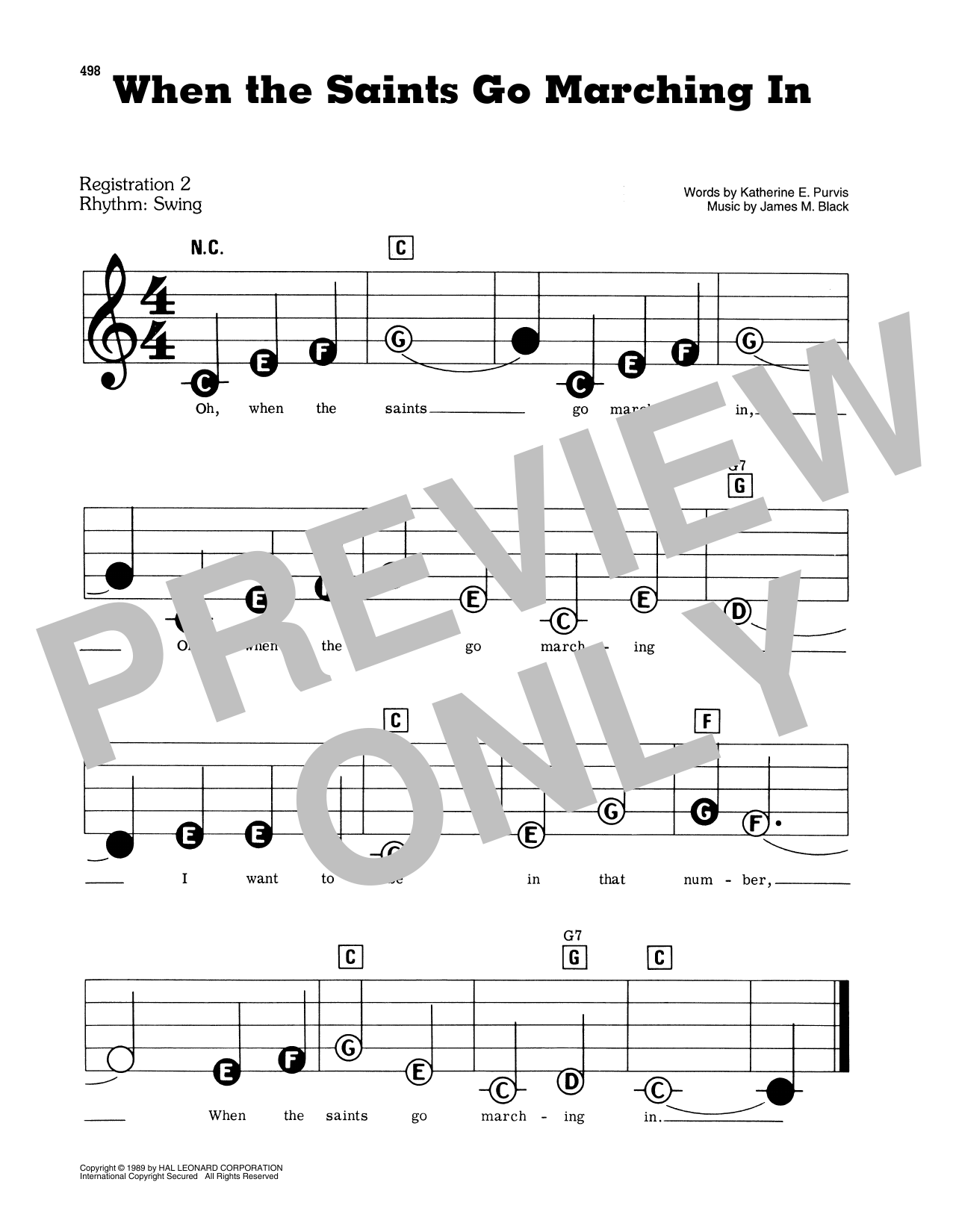 African-American Spiritual When The Saints Go Marching In sheet music preview music notes and score for Piano & Vocal including 2 page(s)