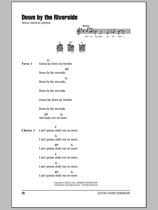 Download African-American Spiritual 'Down By The Riverside' Digital Sheet Music Notes & Chords and start playing in minutes