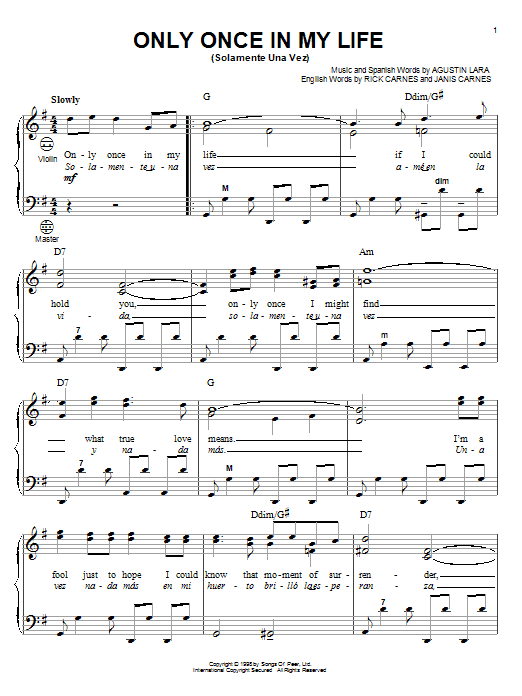 Download Agustin Lara 'Only Once In My Life (Solamente Una Vez)' Digital Sheet Music Notes & Chords and start playing in minutes