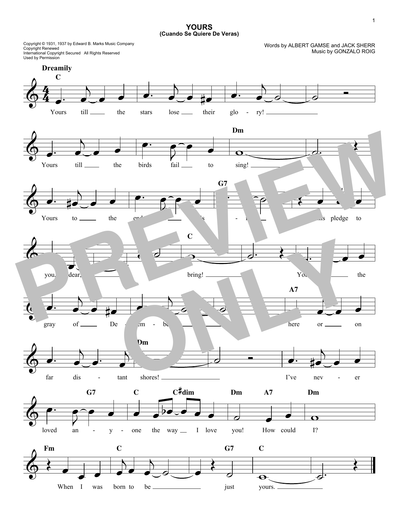 Download Agustin Rodriguez 'Yours (Quiereme Mucho)' Digital Sheet Music Notes & Chords and start playing in minutes
