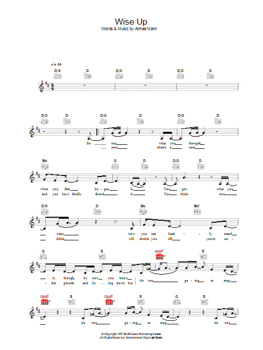 Aimee Mann Wise Up (from Magnolia) sheet music preview music notes and score for Piano, Vocal & Guitar including 5 page(s)