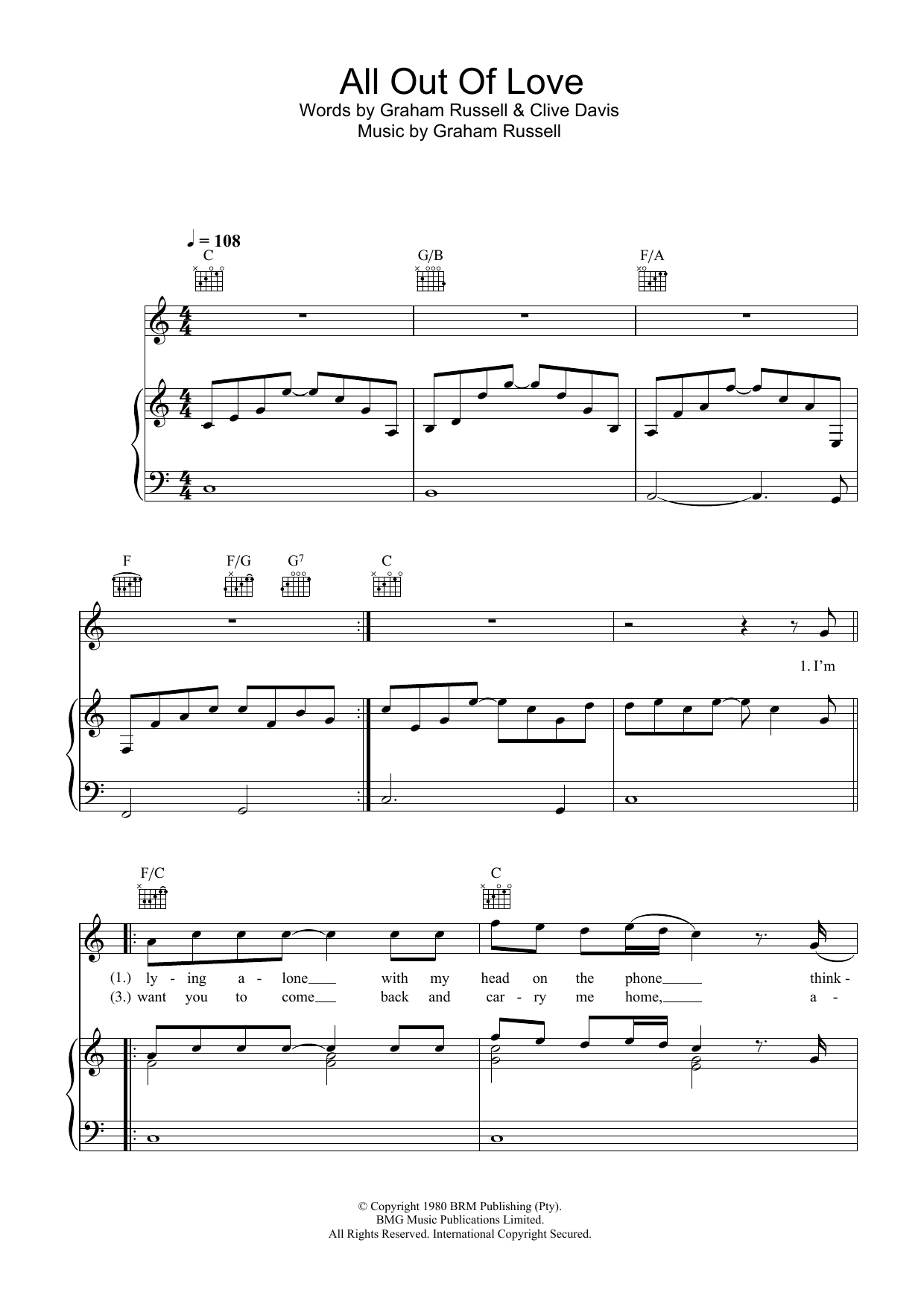 Air Supply All Out Of Love sheet music preview music notes and score for Lyrics & Piano Chords including 3 page(s)