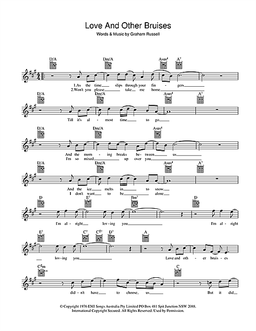 Air Supply Love And Other Bruises sheet music preview music notes and score for Melody Line, Lyrics & Chords including 2 page(s)