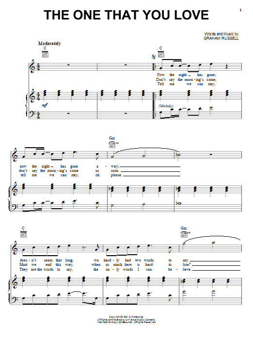 Air Supply The One That You Love sheet music notes and chords