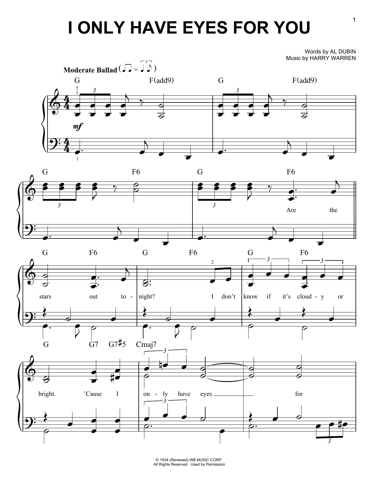 Download Al Dubin 'I Only Have Eyes For You' Digital Sheet Music Notes & Chords and start playing in minutes