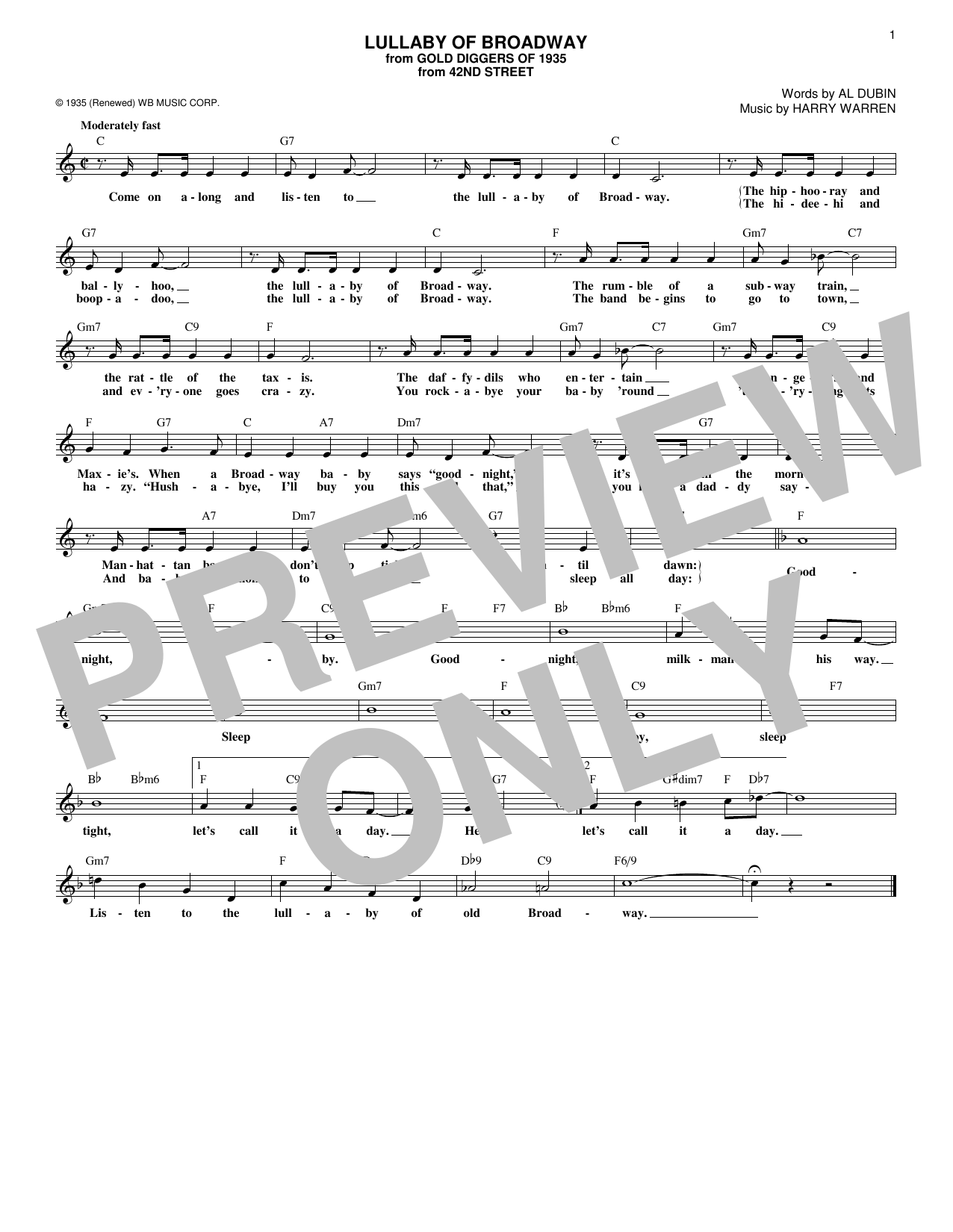 Download Al Dubin 'Lullaby Of Broadway' Digital Sheet Music Notes & Chords and start playing in minutes
