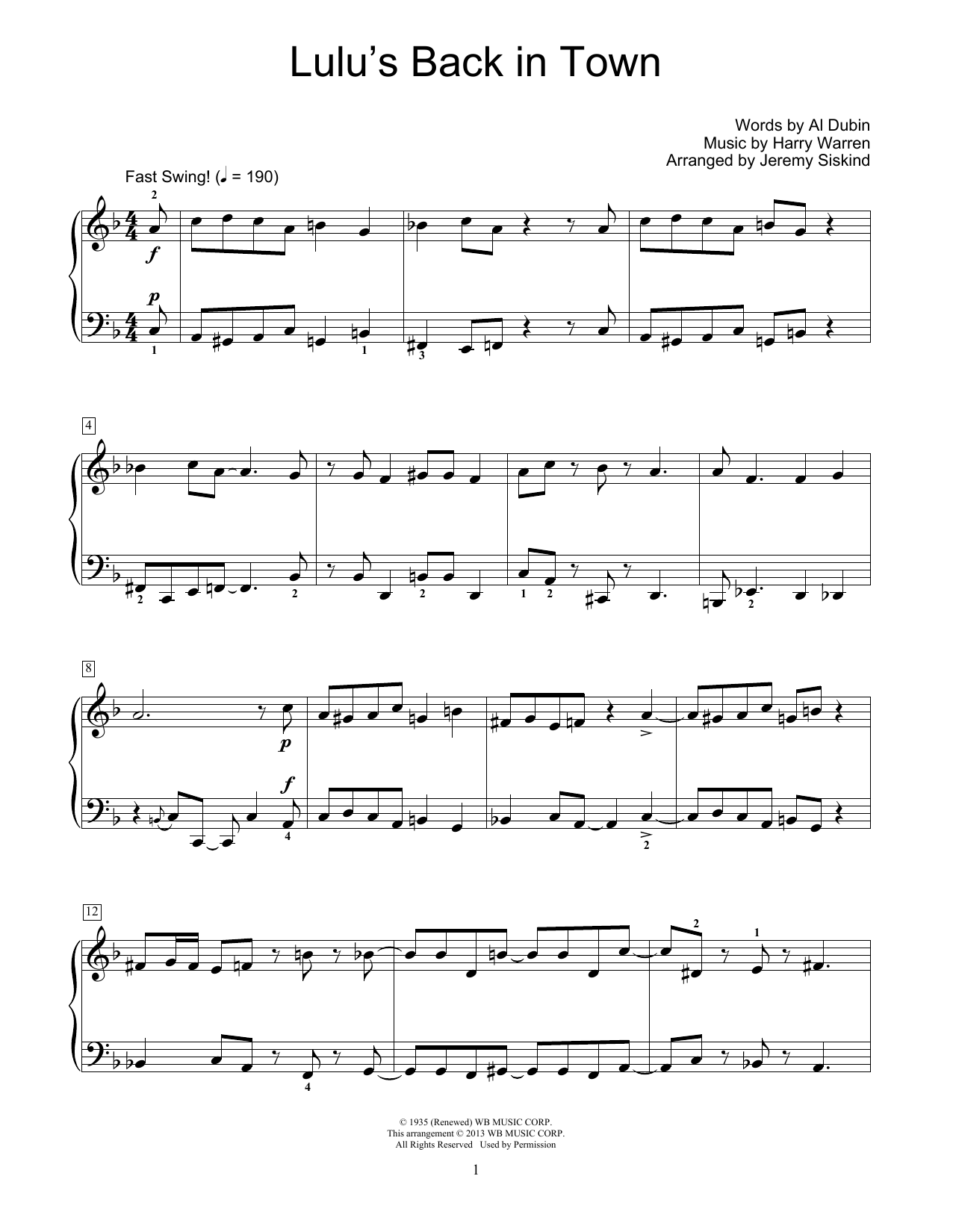 Download Al Dubin 'Lulu's Back In Town' Digital Sheet Music Notes & Chords and start playing in minutes