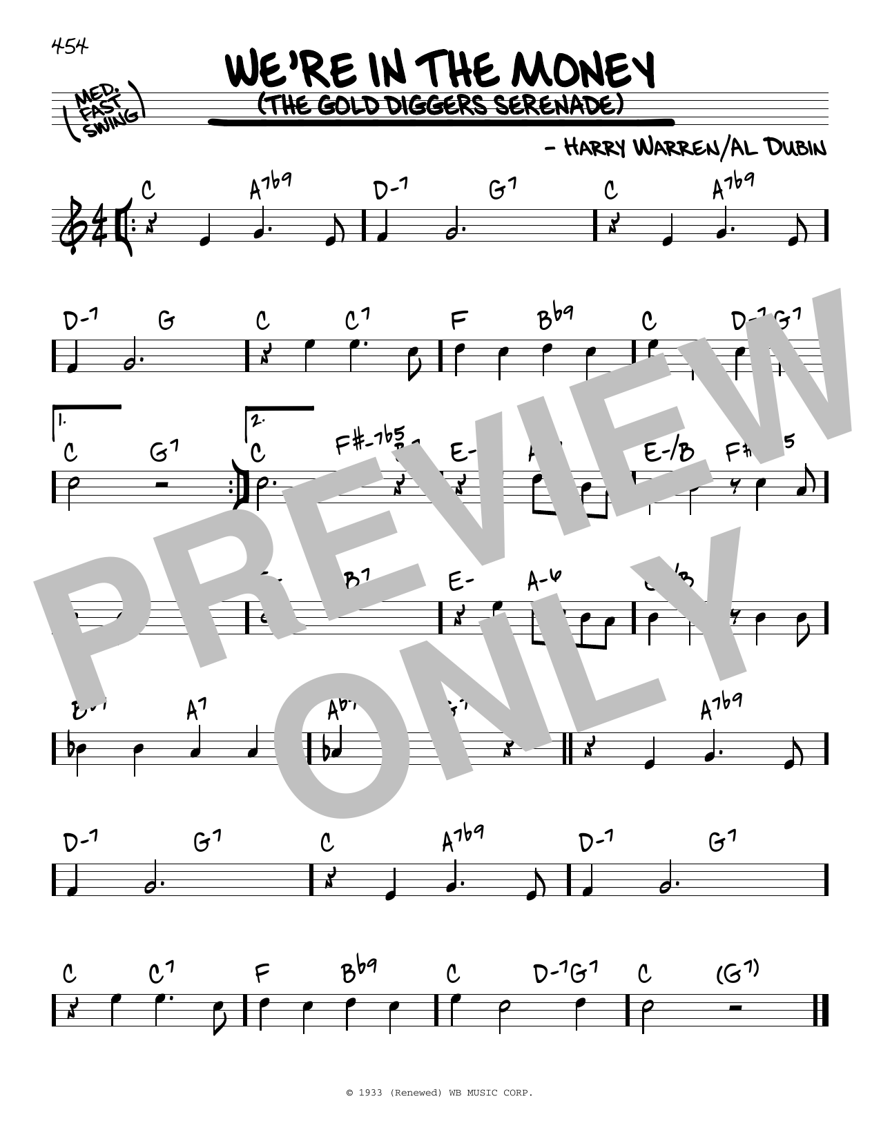 Download Al Dubin 'We're In The Money (The Gold Diggers Serenade)' Digital Sheet Music Notes & Chords and start playing in minutes