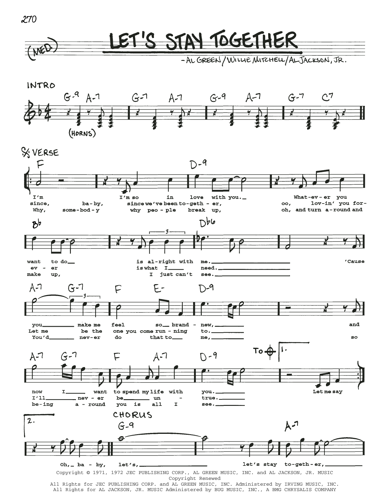Al Green Let's Stay Together sheet music notes and chords