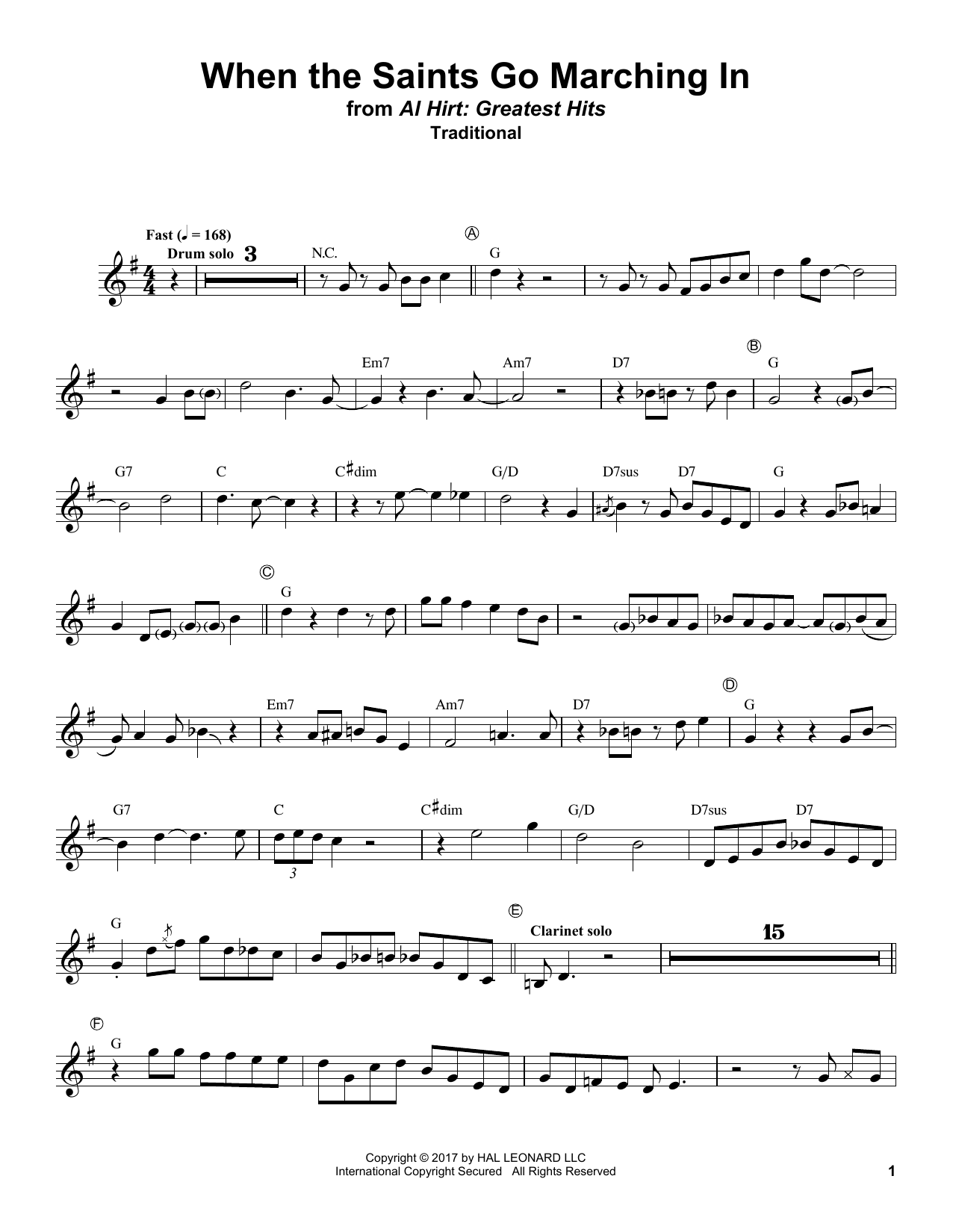 Download Traditional 'When The Saints Go Marching In' Digital Sheet Music Notes & Chords and start playing in minutes
