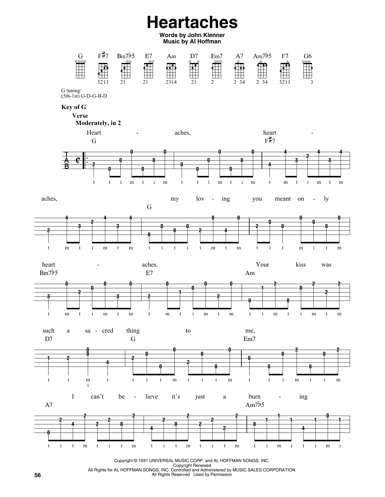 Download Al Hoffman 'Heartaches' Digital Sheet Music Notes & Chords and start playing in minutes