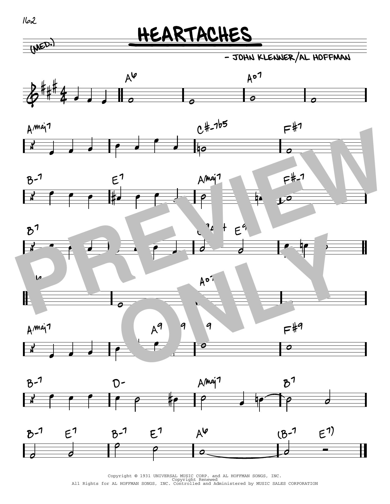 Download Al Hoffman and John Klenner 'Heartaches' Digital Sheet Music Notes & Chords and start playing in minutes