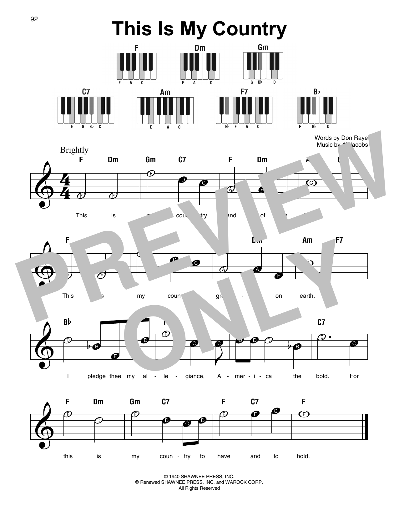 Download Al Jacobs 'This Is My Country' Digital Sheet Music Notes & Chords and start playing in minutes