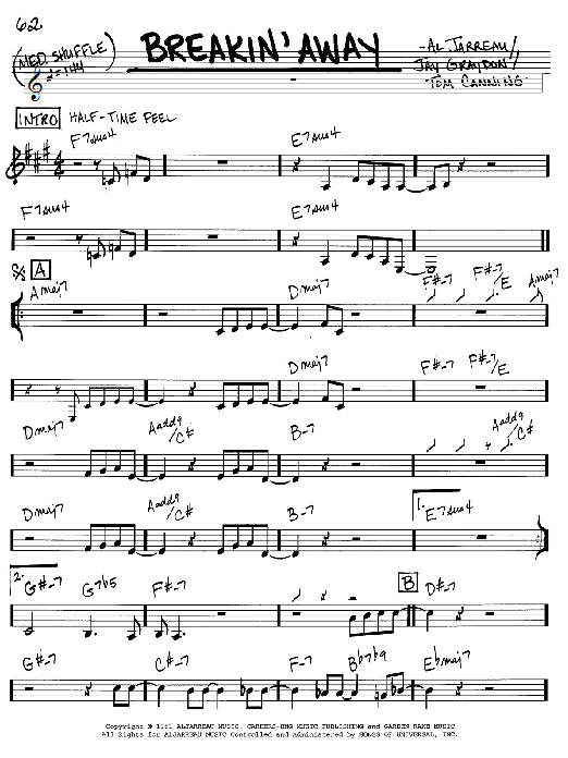 Download Al Jarreau 'Breakin' Away' Digital Sheet Music Notes & Chords and start playing in minutes