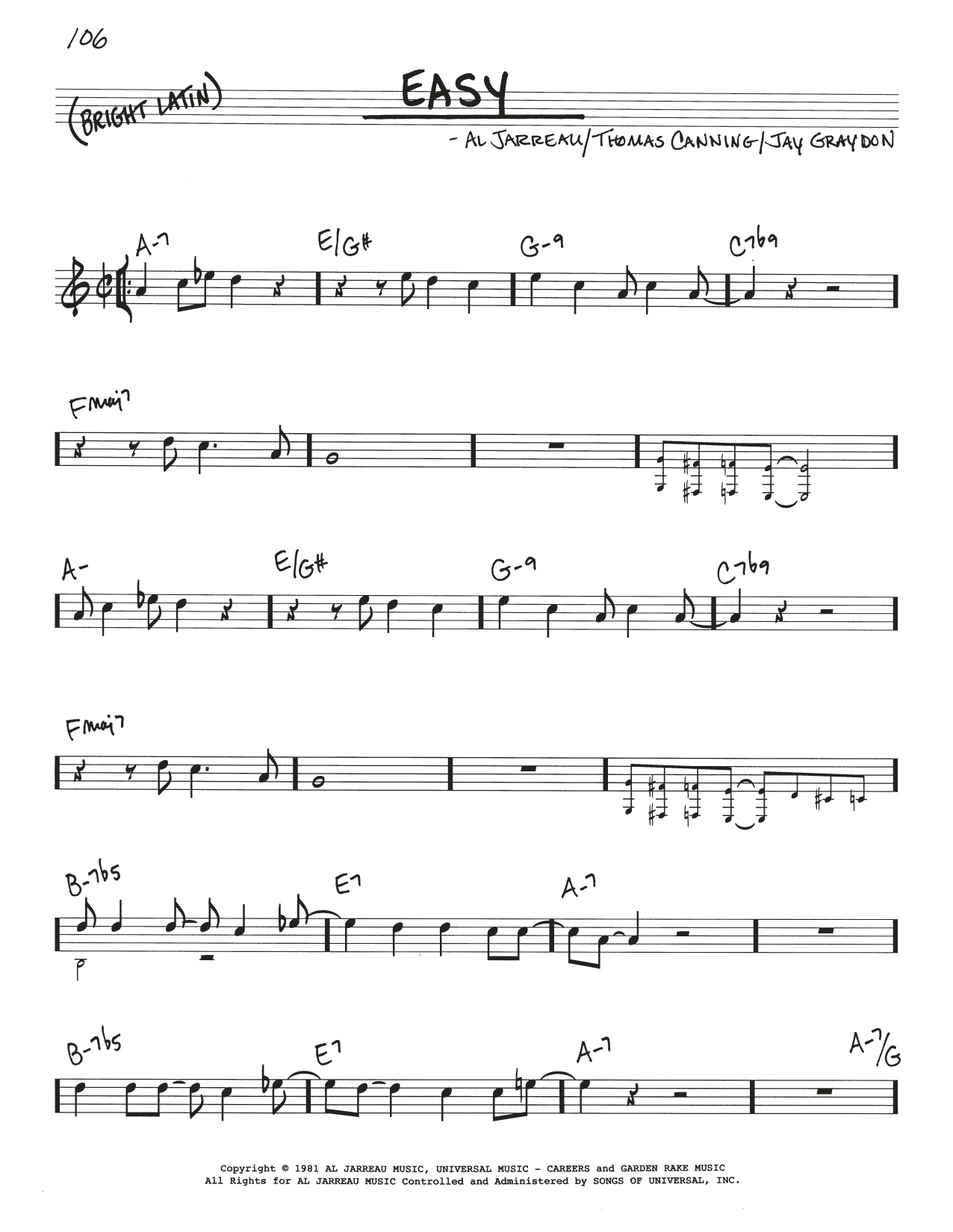 Download Al Jarreau 'Easy' Digital Sheet Music Notes & Chords and start playing in minutes