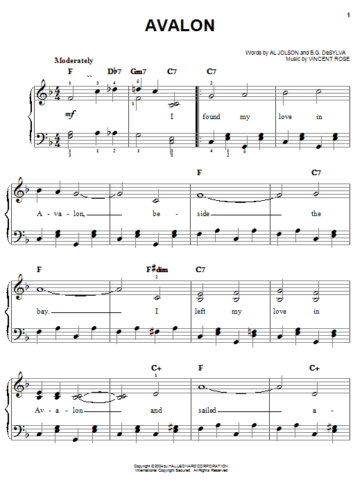 Download Al Jolson 'Avalon' Digital Sheet Music Notes & Chords and start playing in minutes