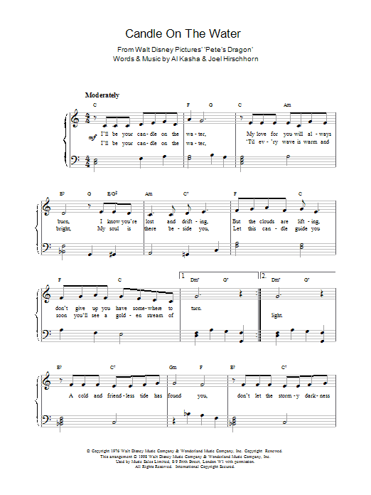 Al Kasha Candle On The Water sheet music preview music notes and score for Guitar Tab including 2 page(s)