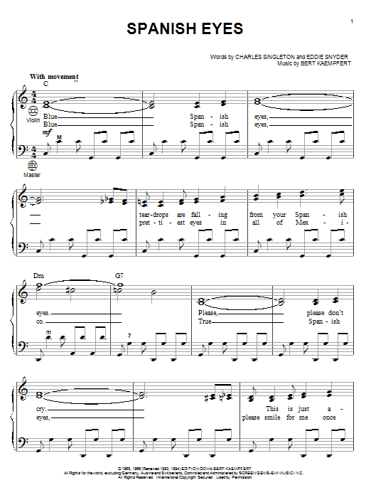 Download Al Martino 'Spanish Eyes' Digital Sheet Music Notes & Chords and start playing in minutes