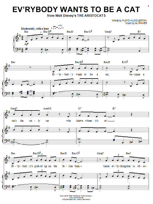 Al Rinker Ev'rybody Wants To Be A Cat (from Walt Disney's The Aristocats) sheet music notes and chords