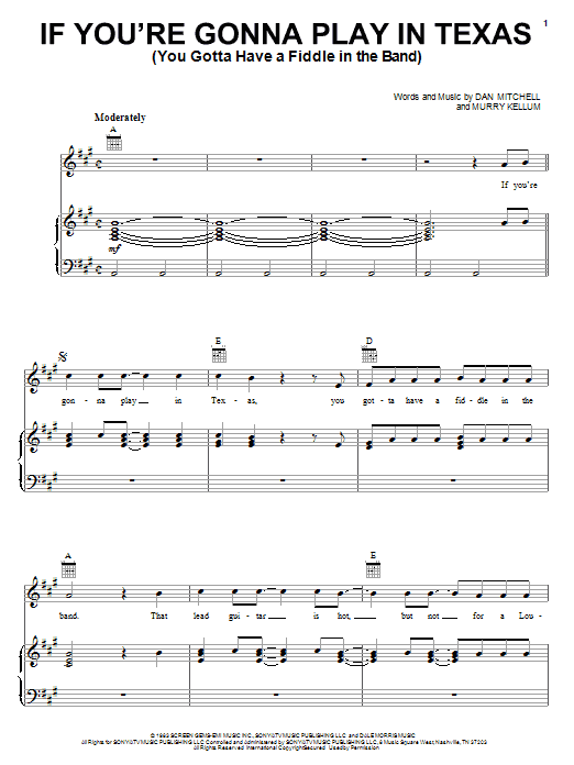 Alabama If You're Gonna Play In Texas (You Gotta Have A Fiddle In The Band) sheet music preview music notes and score for Piano, Vocal & Guitar (Right-Hand Melody) including 9 page(s)