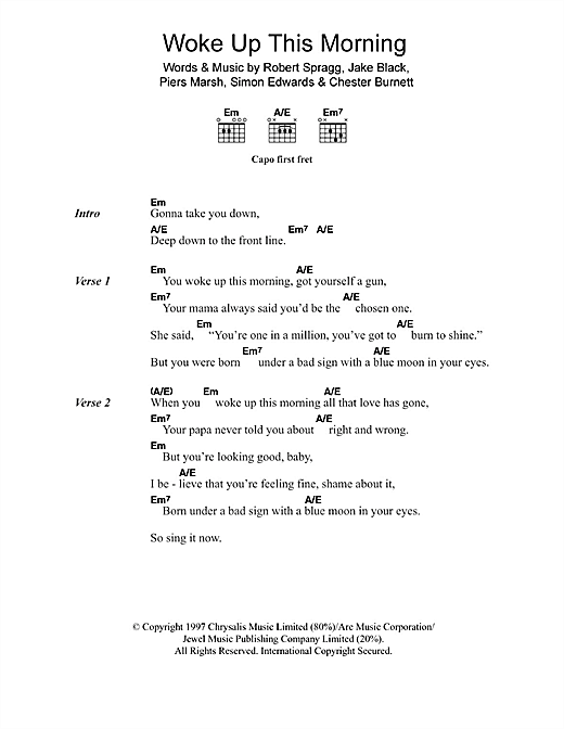 Alabama 3 Woke Up This Morning (Theme from The Sopranos) sheet music notes and chords