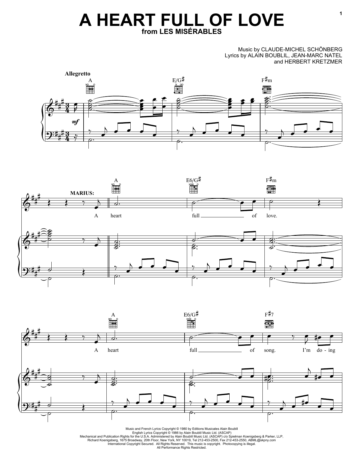 Boublil and Schonberg A Heart Full Of Love (from Les Miserables) sheet music preview music notes and score for Piano, Vocal & Guitar including 4 page(s)