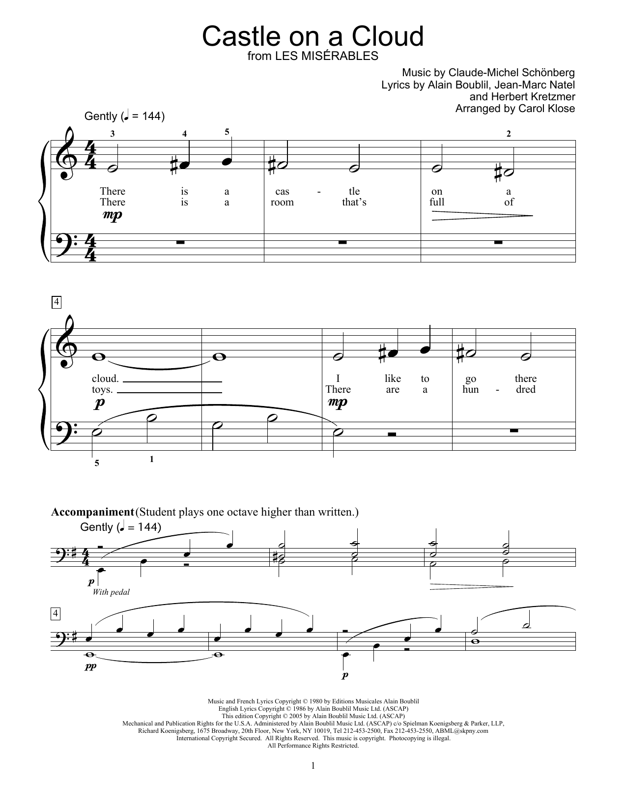 Download Alain Boublil 'Castle On A Cloud' Digital Sheet Music Notes & Chords and start playing in minutes