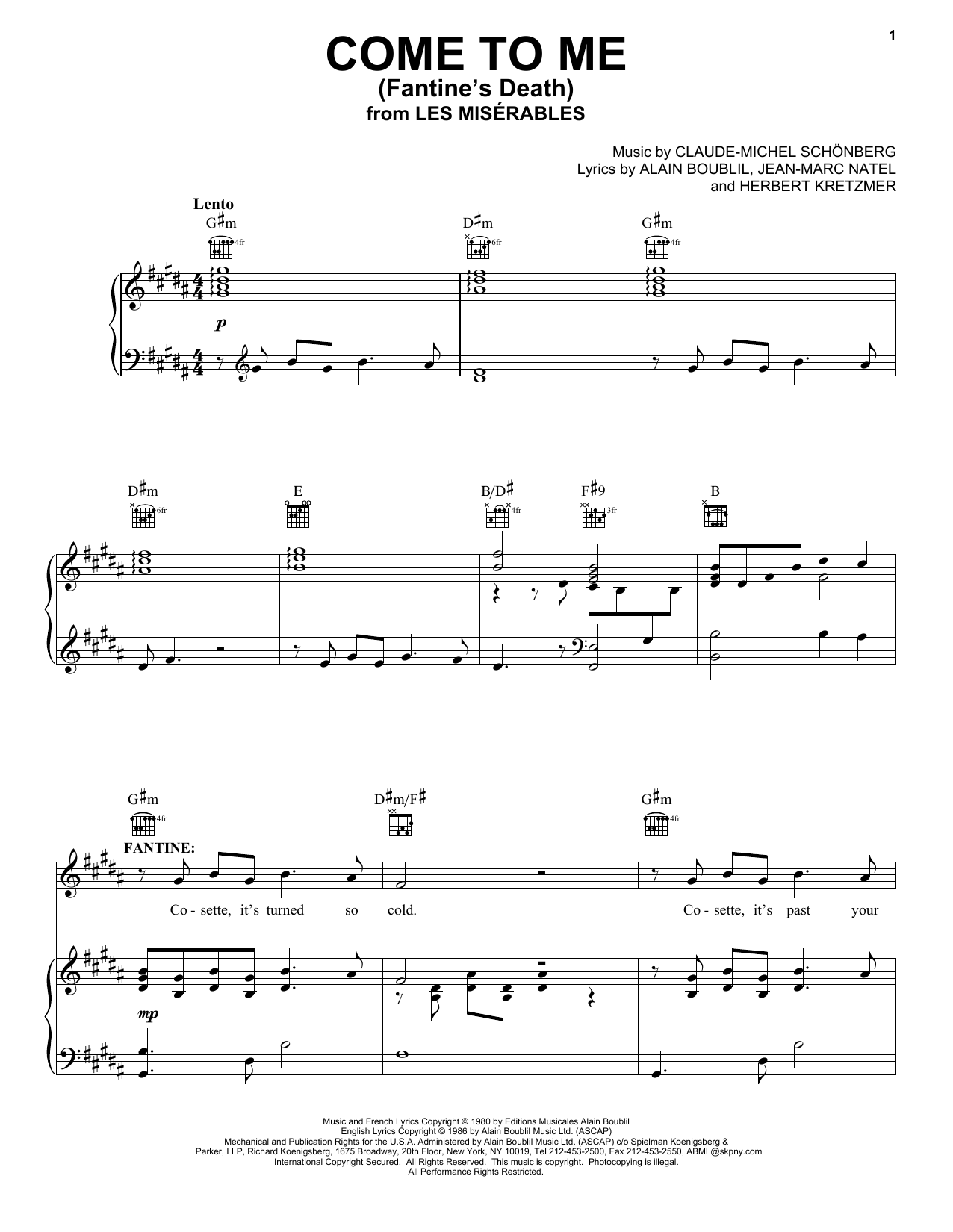Boublil and Schonberg Come To Me (Fantine's Death) sheet music notes and chords