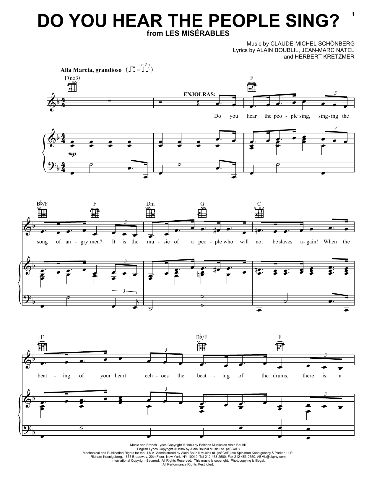 Boublil and Schonberg Do You Hear The People Sing? (from Les Miserables) sheet music preview music notes and score for Piano, Vocal & Guitar including 4 page(s)
