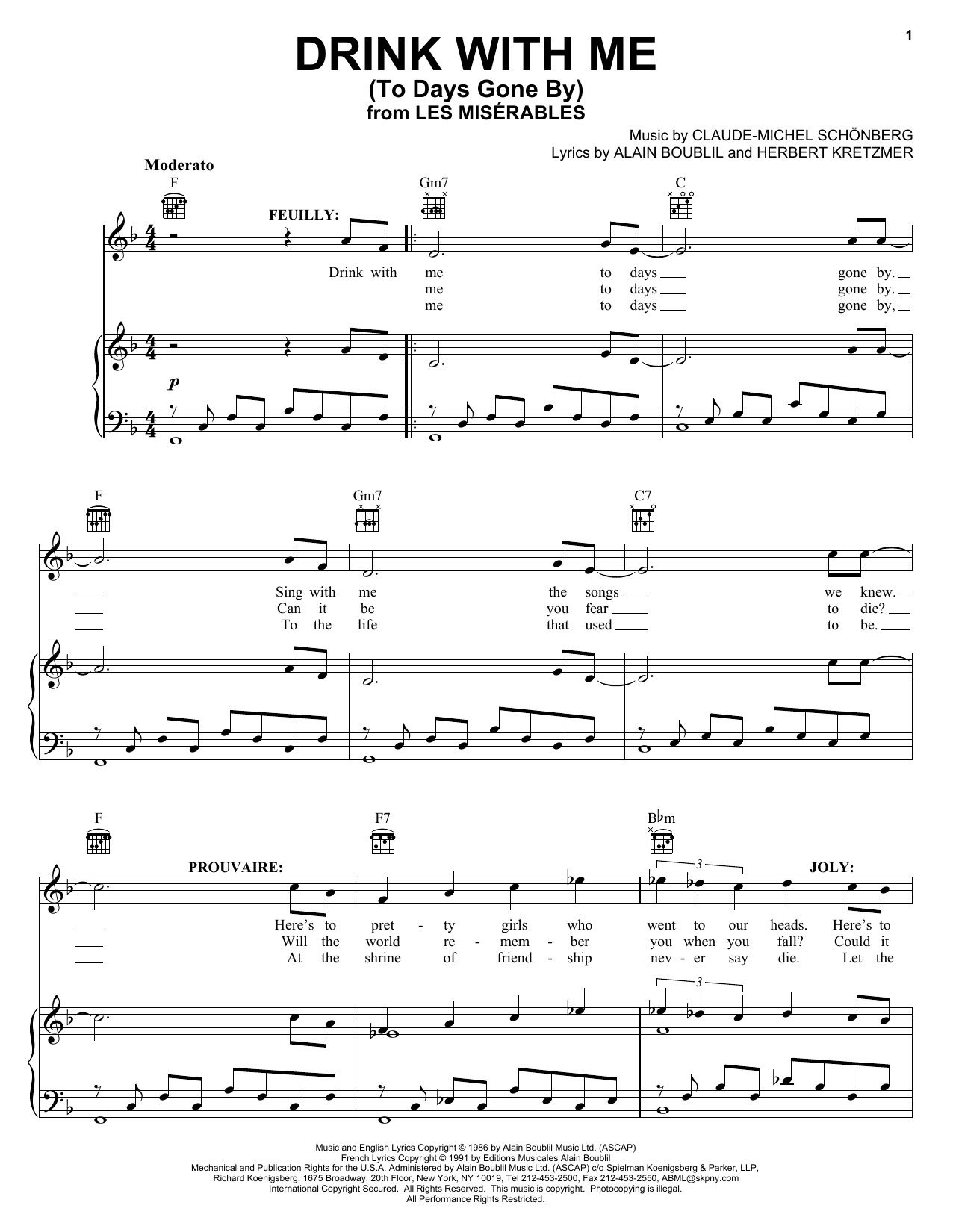 Boublil and Schonberg Drink With Me (To Days Gone By) (from Les Miserables) sheet music preview music notes and score for Piano, Vocal & Guitar (Right-Hand Melody) including 2 page(s)