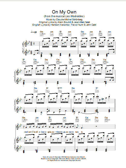 Boublil and Schonberg On My Own (from Les Miserables) sheet music preview music notes and score for Piano, Vocal & Guitar including 7 page(s)