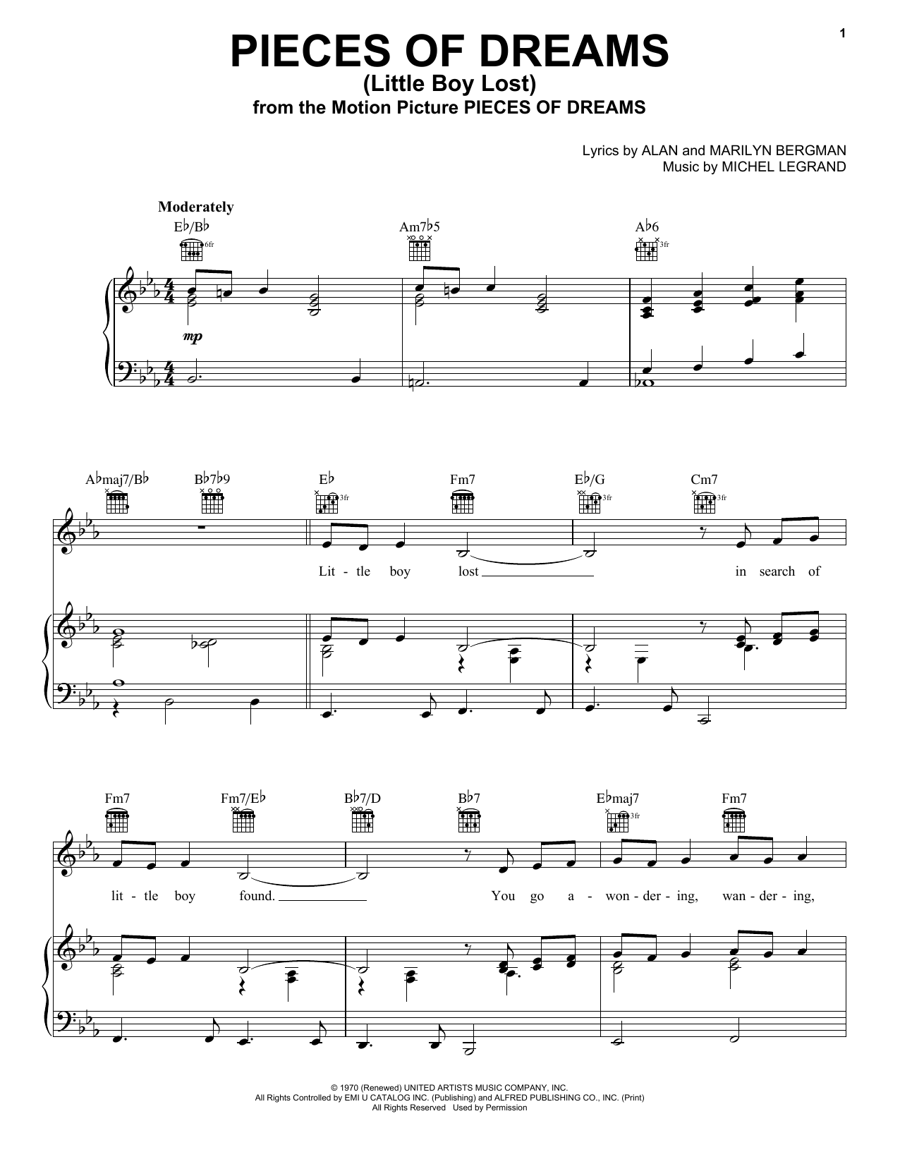 Alan Bergman Pieces Of Dreams (Little Boy Lost) sheet music preview music notes and score for Piano, Vocal & Guitar (Right-Hand Melody) including 4 page(s)