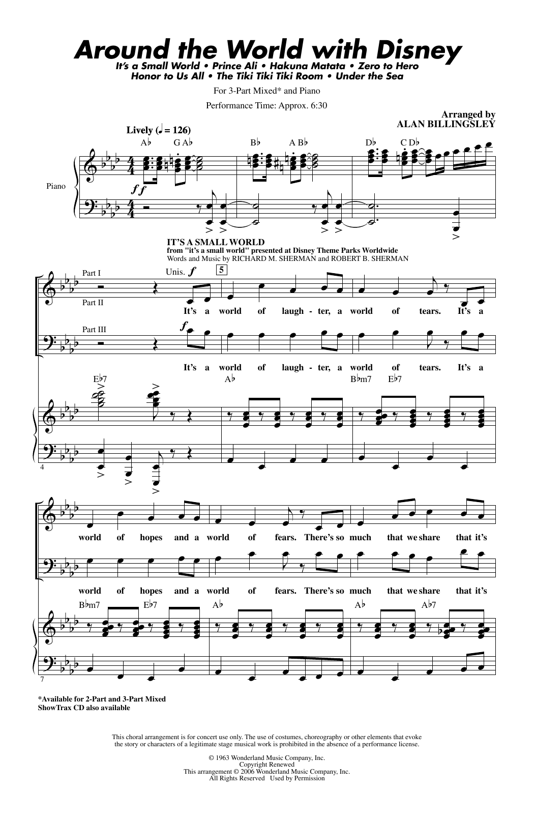 Download Alan Billingsley 'Around The World With Disney (Medley)' Digital Sheet Music Notes & Chords and start playing in minutes