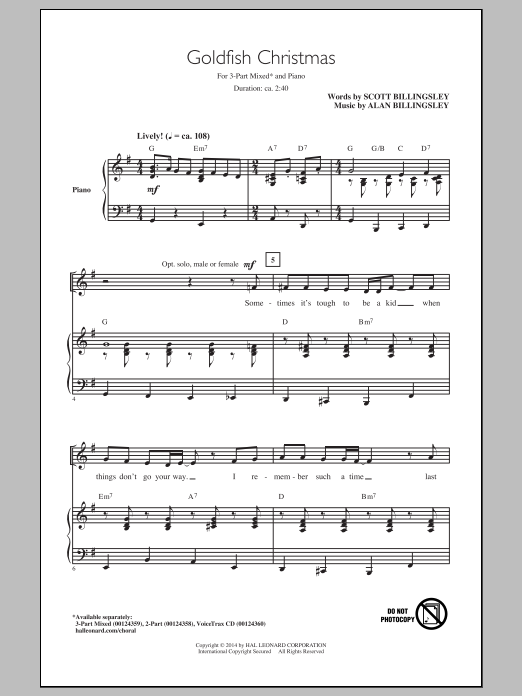 Download Alan Billingsley 'Goldfish Christmas' Digital Sheet Music Notes & Chords and start playing in minutes