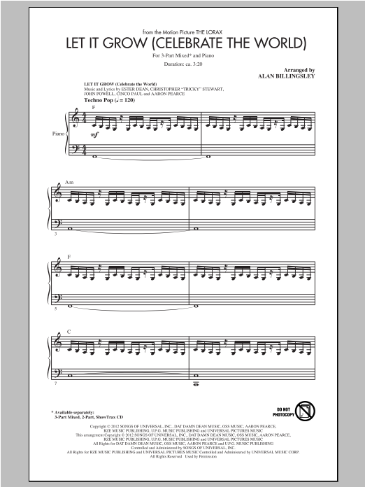 Download John Powell 'Let It Grow (Celebrate The World) (arr. Alan Billingsley)' Digital Sheet Music Notes & Chords and start playing in minutes