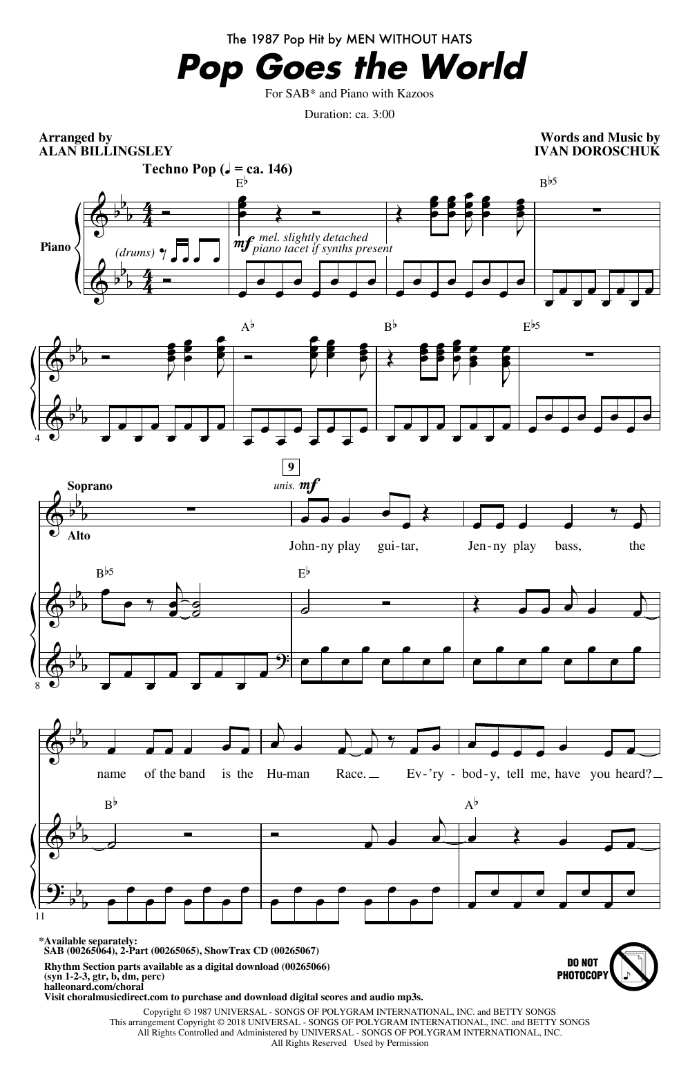 Download Alan Billingsley 'Pop Goes The World' Digital Sheet Music Notes & Chords and start playing in minutes
