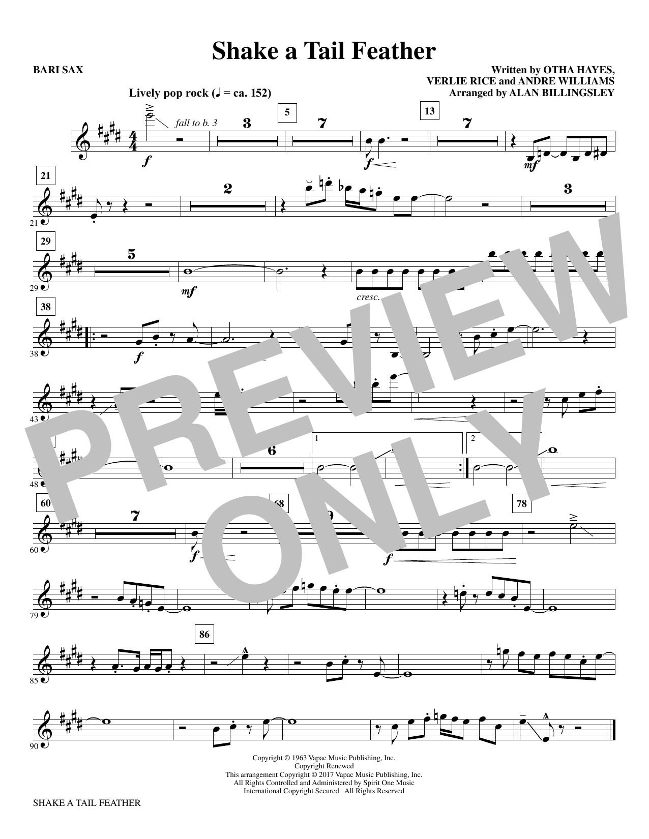 Download Alan Billingsley 'Shake a Tail Feather - Baritone Sax' Digital Sheet Music Notes & Chords and start playing in minutes