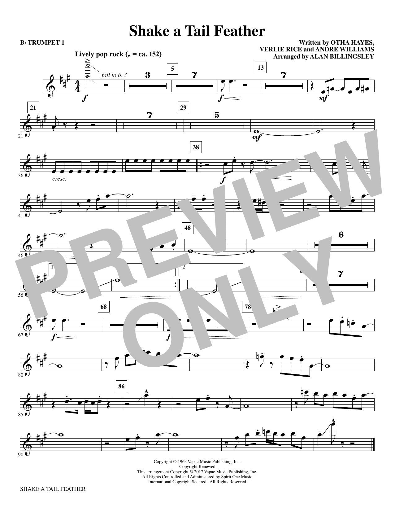 Download Alan Billingsley 'Shake a Tail Feather - Bb Trumpet 1' Digital Sheet Music Notes & Chords and start playing in minutes