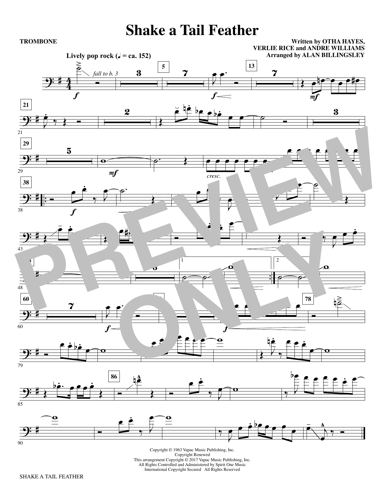 Download Alan Billingsley 'Shake a Tail Feather - Trombone' Digital Sheet Music Notes & Chords and start playing in minutes