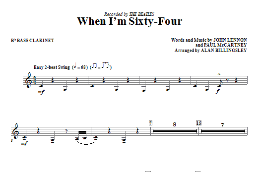 Download Alan Billingsley 'When I'm Sixty-Four - Bb Bass Clarinet' Digital Sheet Music Notes & Chords and start playing in minutes