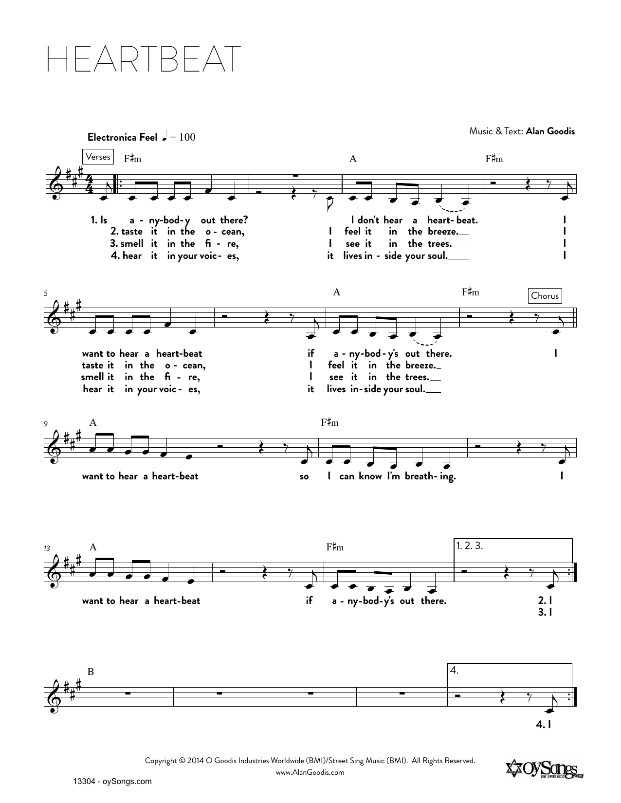 Download Alan Goodis 'Heartbeat' Digital Sheet Music Notes & Chords and start playing in minutes
