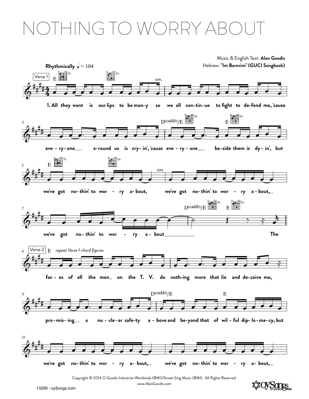 Download Alan Goodis 'Nothing To Worry About' Digital Sheet Music Notes & Chords and start playing in minutes