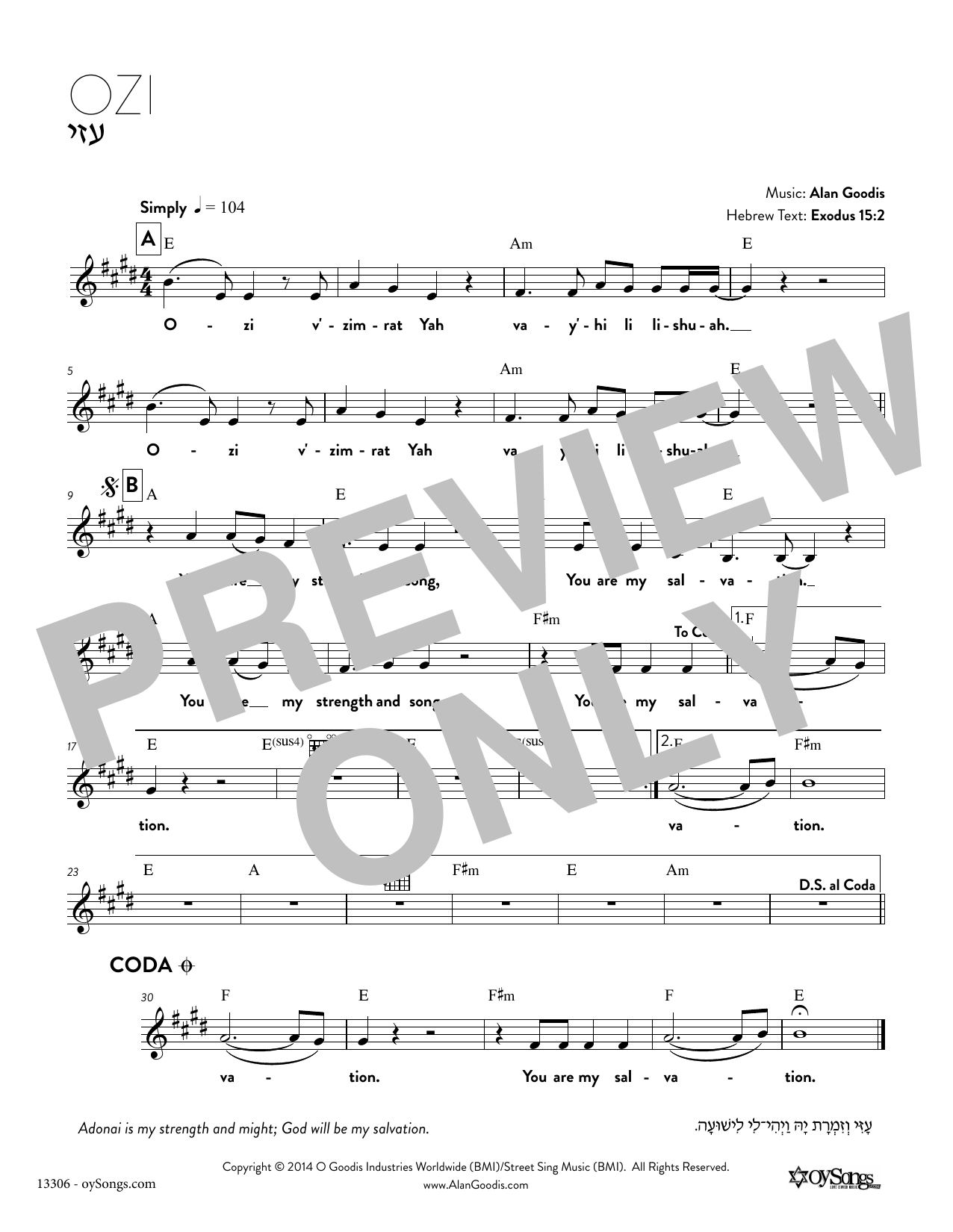 Download Alan Goodis 'Ozi' Digital Sheet Music Notes & Chords and start playing in minutes
