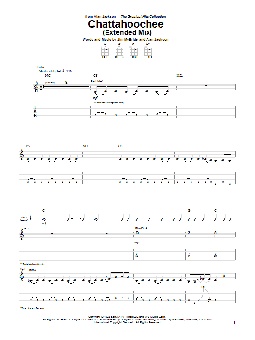 Download Alan Jackson 'Chattahoochee' Digital Sheet Music Notes & Chords and start playing in minutes