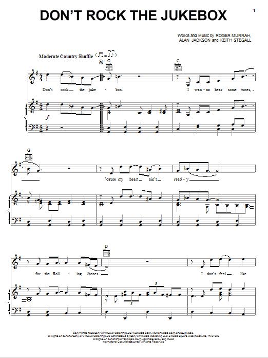 Alan Jackson Don't Rock The Jukebox sheet music notes and chords