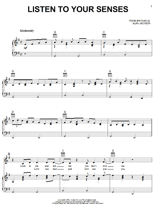 Alan Jackson Listen To Your Senses sheet music notes and chords