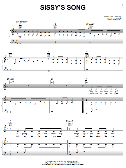 Alan Jackson Sissy's Song sheet music notes and chords