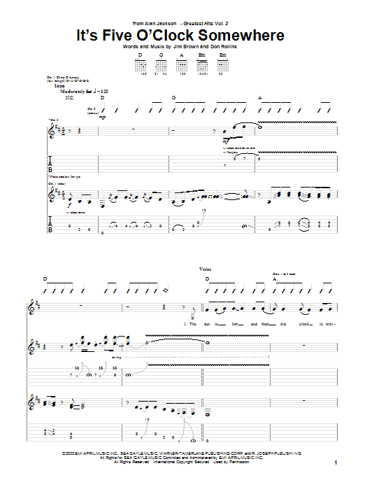 Alan Jackson & Jimmy Buffett It's Five O'Clock Somewhere sheet music preview music notes and score for Drums Transcription including 1 page(s)
